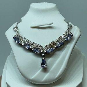 """Sterling Silver 18.5"""" Chain Tanzanite w/ Diamonds"""